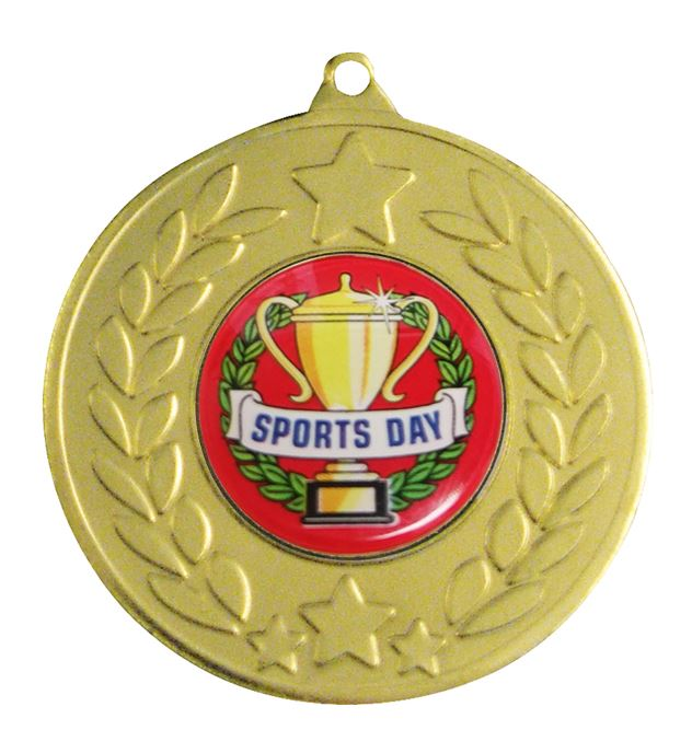 "Gold Laurel Wreath Sports Day Medal 50mm (2"")"