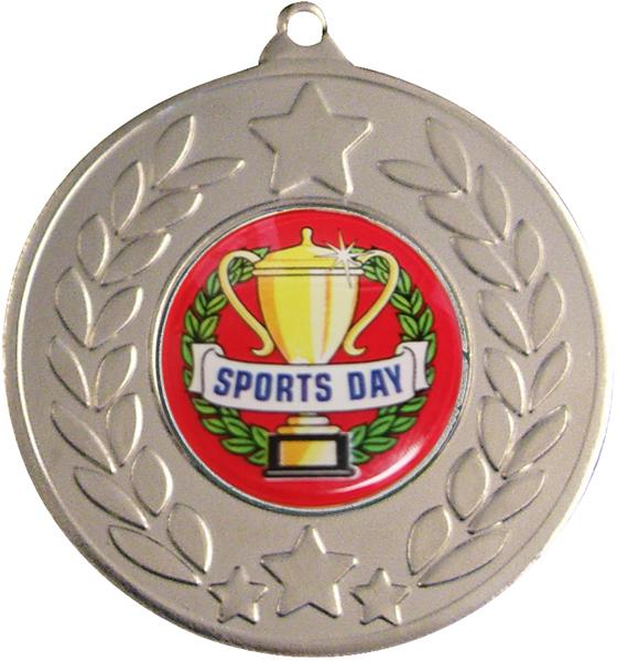 "Silver Laurel Wreath Sports Day Medal 50mm (2"")"