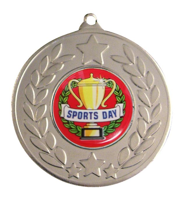 "Silver Laurel Wreath Sports Day Medal 50mm (2"")"