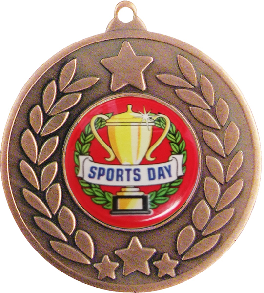 "Bronze Laurel Wreath Sports Day Medal 50mm (2"")"