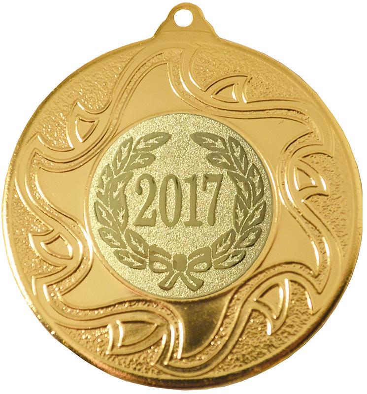 """2017 Gold Sunburst Star Patterned Medal 50mm (2"""")"""