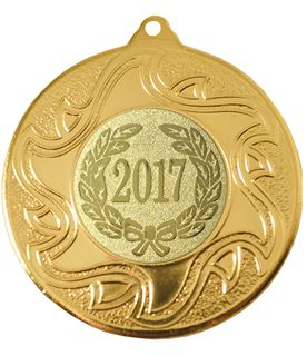 "2017 Gold Sunburst Star Patterned Medal 50mm (2"")"