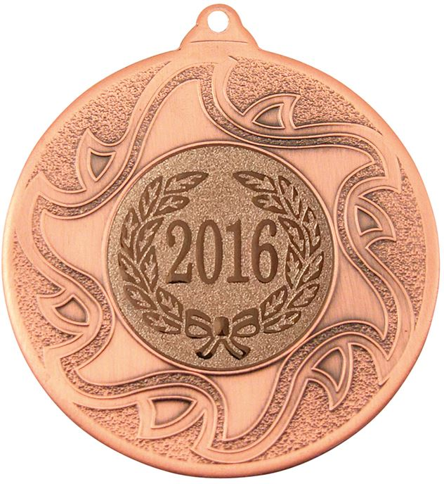 "2016 Bronze Sunburst Star Patterned Medal 50mm (2"")"