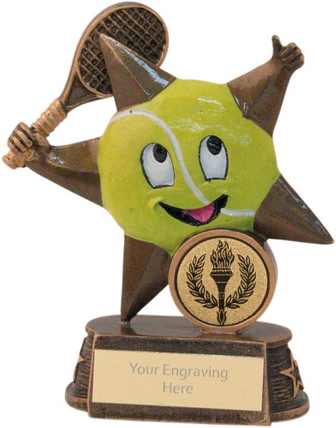 "Gold/Yellow Tennis Comic Star Figure Trophy 12cm (4.75"")"