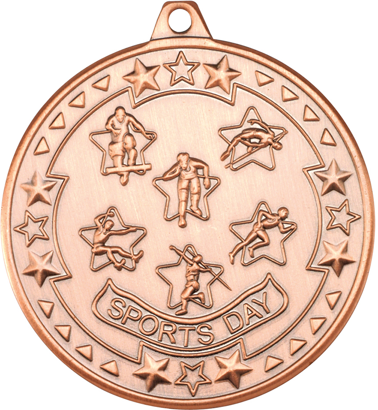 "Bronze Tri Star Sports Day Medal 50mm (2"")"
