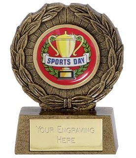 "Resin Mini Star Sports Day Laurel Wreath Trophy 6.5cm (2.5"")"