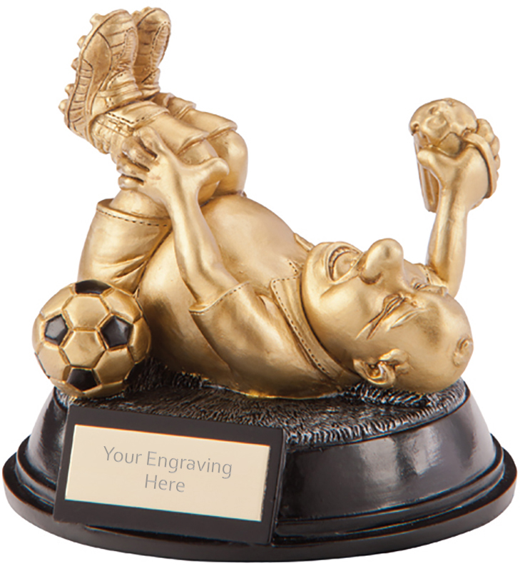 "Gold Resin Outrageous Beer Bellies Diver Football Trophy 11cm (4.25"")"