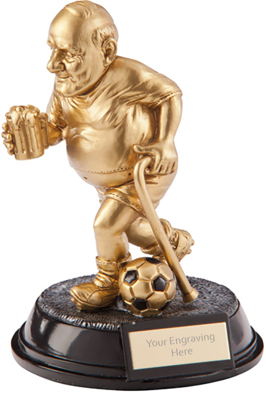 "Gold Resin Outrageous Beer Bellies Old Git Football Trophy 16.5cm (6.5"")"