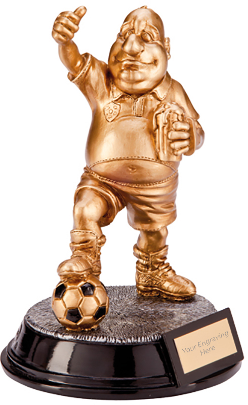 """Gold Resin Outrageous Beer Bellies Sportsman Trophy 16.5cm (6.5"""")"""