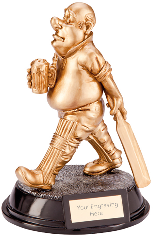 """Gold Resin Outrageous Beer Bellies Cricket Man Trophy 16.5cm (6.5"""")"""