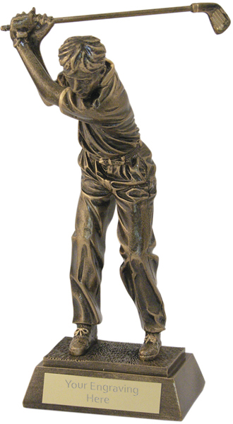 "Antique Gold Male Golf Backswing Trophy 15cm (6"")"