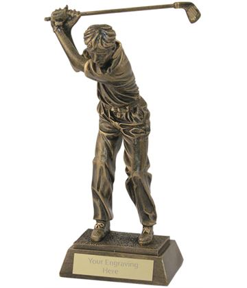"Antique Gold Male Golf Backswing Trophy 26.5cm (10.5"")"