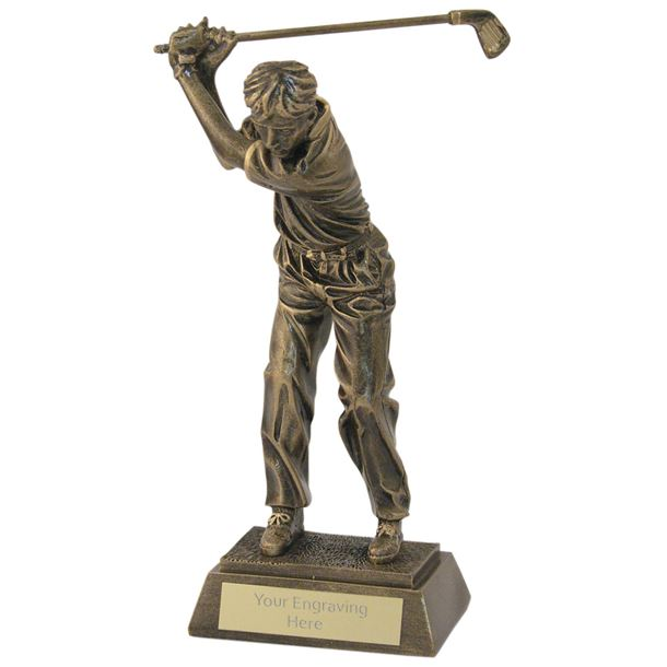 "Antique Gold Male Golf Backswing Trophy 26.5cm (10.5"")"