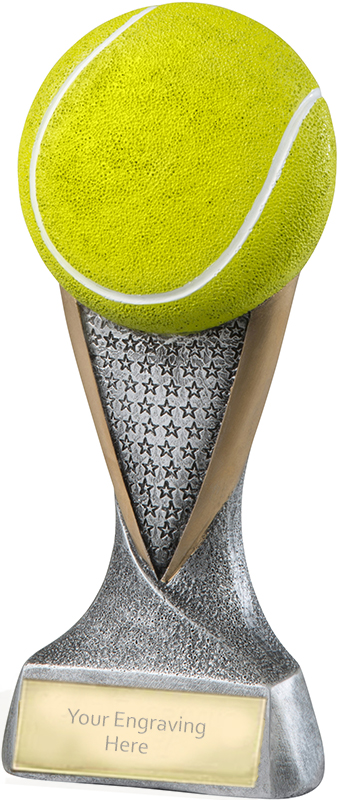 """Gold & Silver 2D Tennis Ball Trophy with Star Pattern 18.5cm (7.25"""")"""