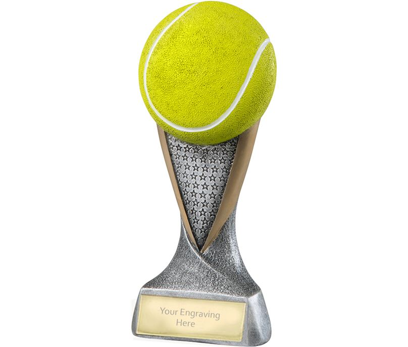 "Gold & Silver 2D Tennis Ball Trophy with Star Pattern 18.5cm (7.25"")"