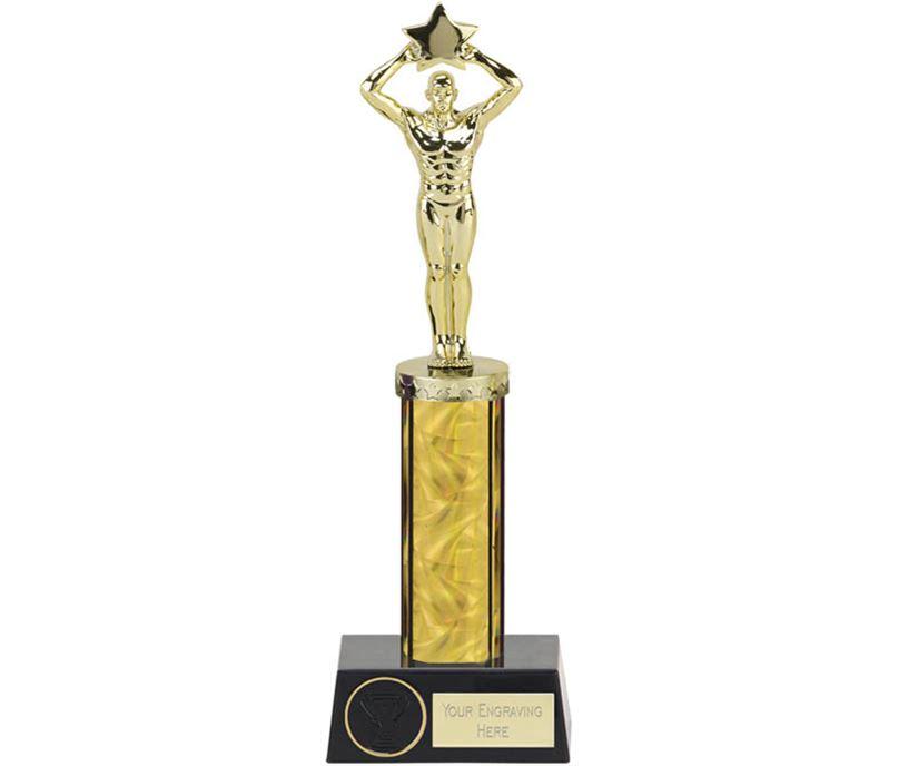 "Gold Star Achievement Column Statue Award 28cm (11"")"