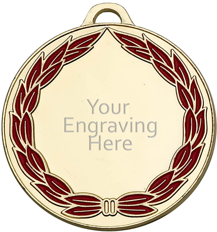 """Gold & Red Classic Wreath Medal 50mm (2"""")"""