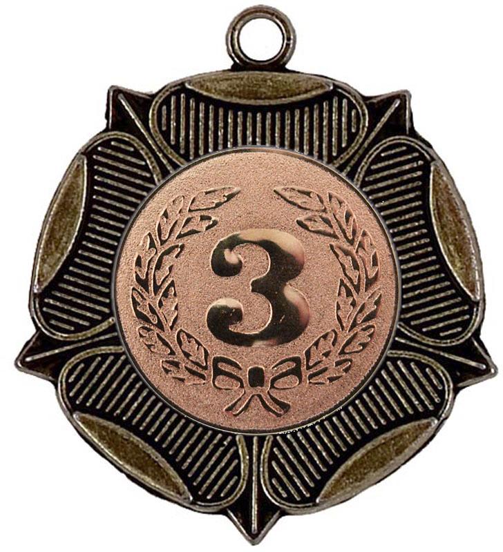 """Tudor Rose 3rd Place Bronze Medal 50mm (2"""")"""