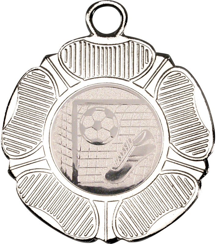 "Silver Tudor Rose Style Medal with Football Centre Disc 50mm (2"")"