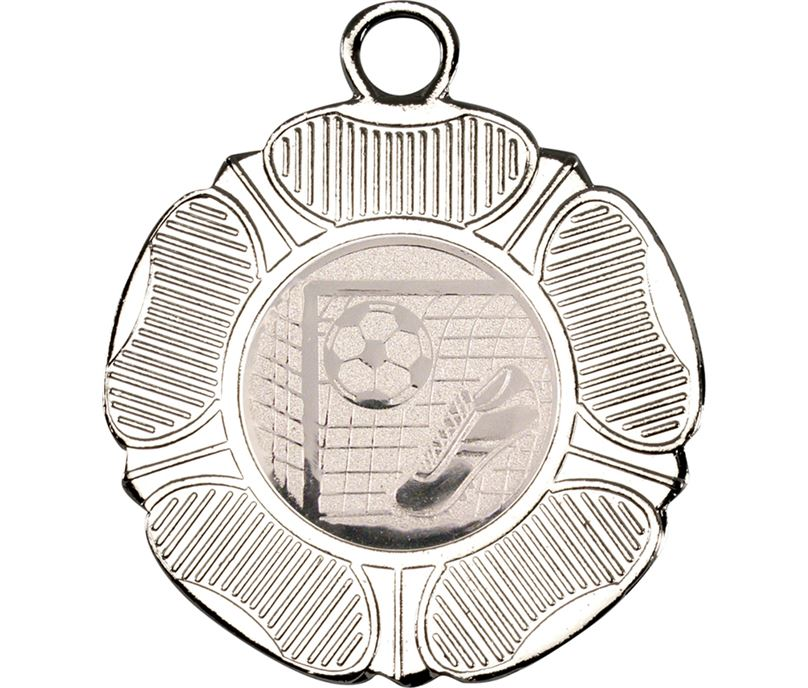"""Silver Tudor Rose Style Medal with Football Centre Disc 50mm (2"""")"""