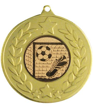 "Gold Laurel Wreath Football Medal 50mm (2"")"