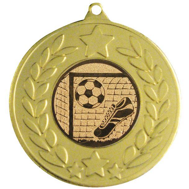 "Gold Laurel Wreath Football Medal 50mm (2"")"