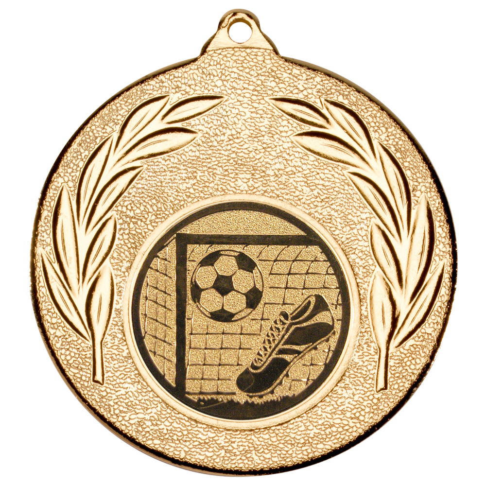 """Gold Leaf Medal with Football Centre Disc 50mm (2"""")"""