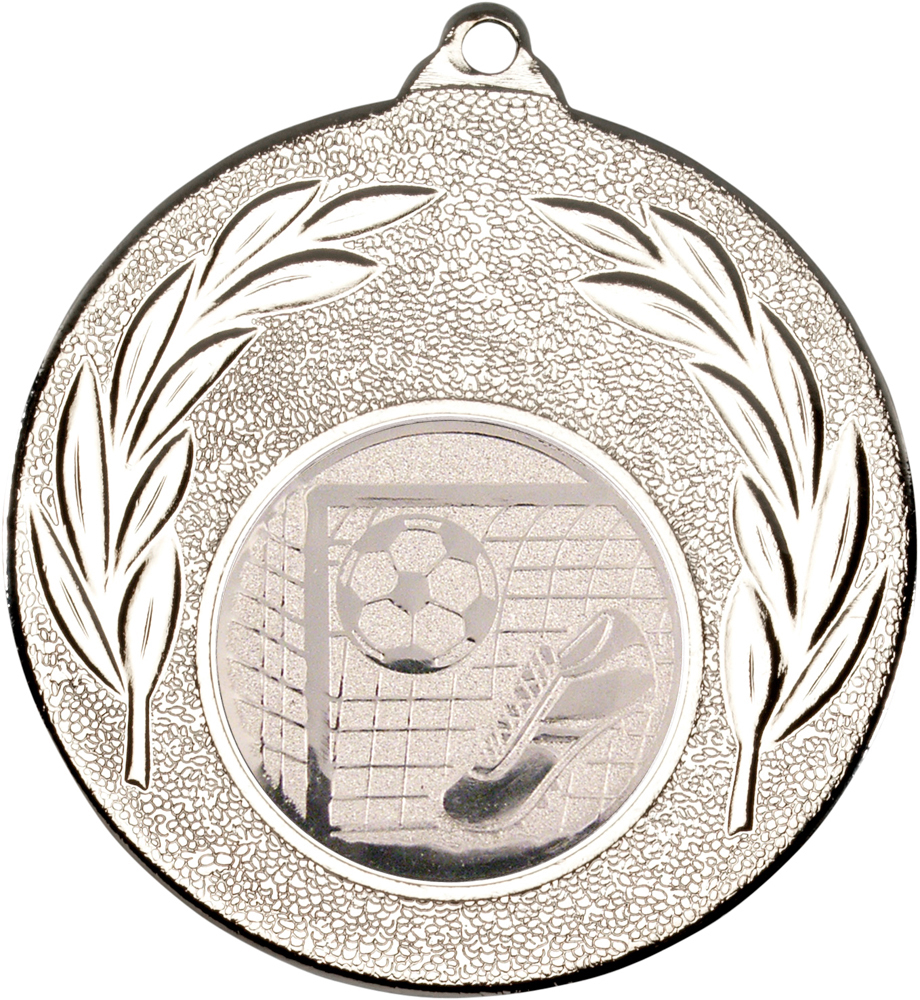"Silver Leaf Medal with Football Centre Disc 50mm (2"")"