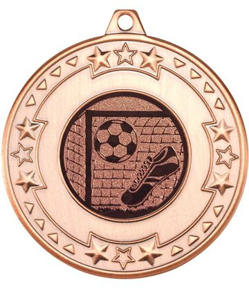 "Bronze Star & Pattern Medal with Football Centre Disc 50mm (2"")"