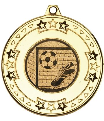 "Gold Star & Pattern Medal with Football Centre Disc 50mm (2"")"