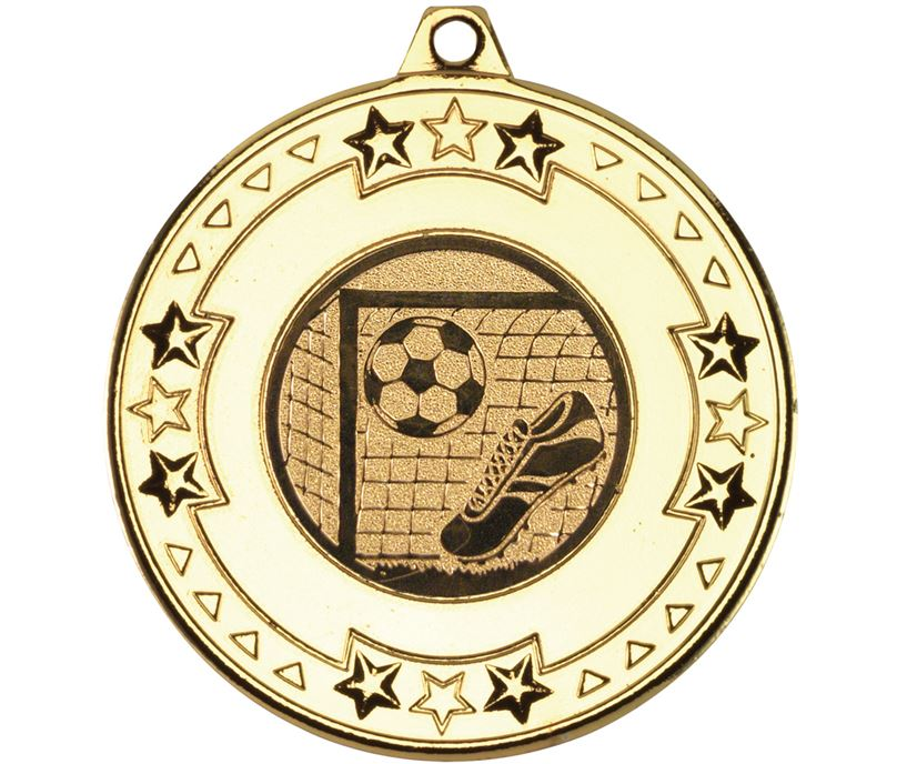 """Gold Star & Pattern Medal with Football Centre Disc 50mm (2"""")"""