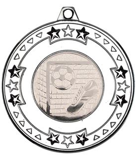 """Silver Star & Pattern Medal with Football Centre Disc 50mm (2"""")"""