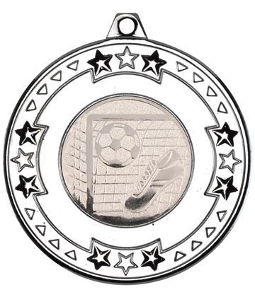 "Silver Star & Pattern Medal with Football Centre Disc 50mm (2"")"