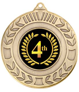 "Antique Gold 4th Place Wreath Medal 50mm (2"")"