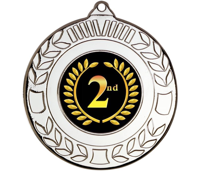 """Silver 2nd Place Wreath Medal 50mm (2"""")"""
