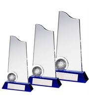 Clear and Blue Crystal Golf Ball Trophy Package