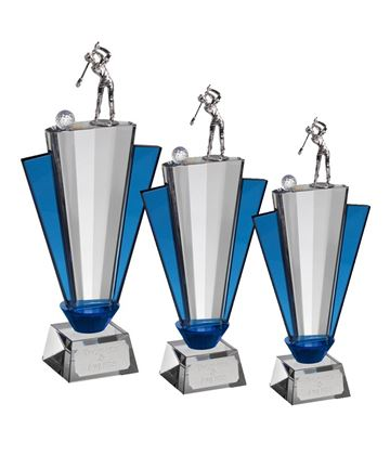 Clear and Blue Crystal Golfer Trophy Package