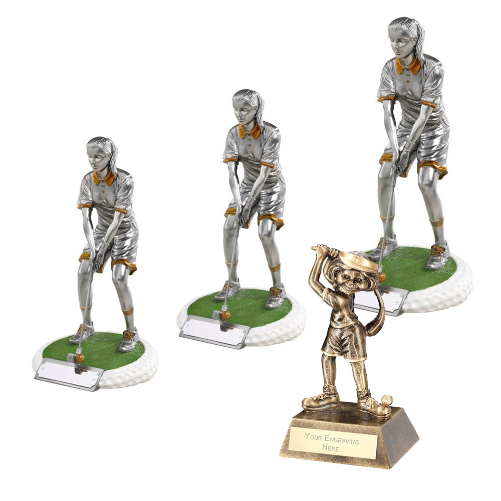 Resin Female Golfer Trophy Package