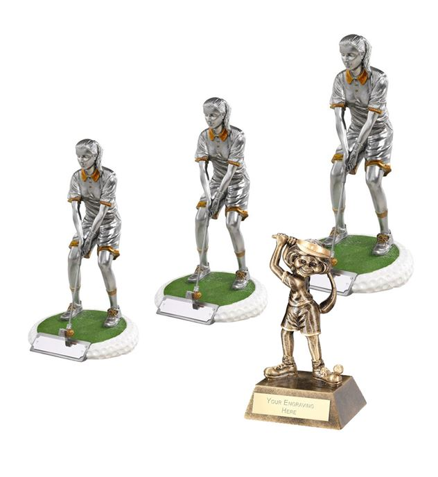 Resin Female Golfer Trophy Package