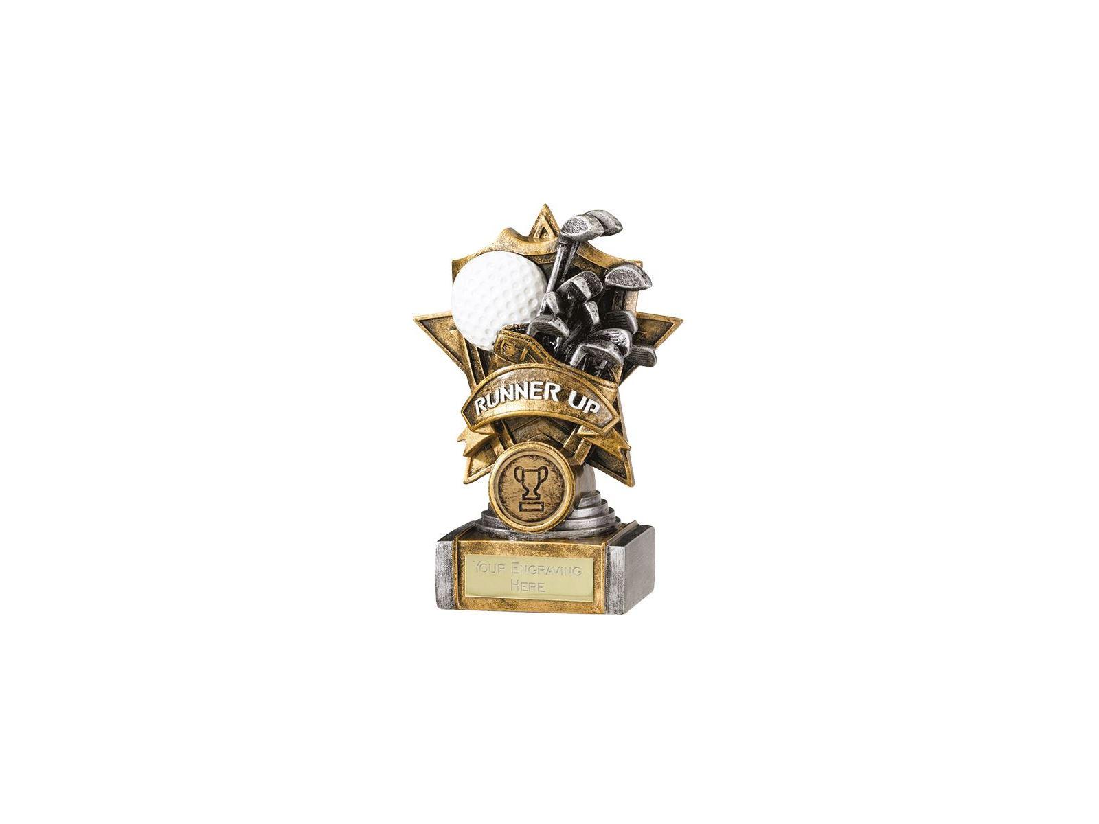 Gold Resin Golf Runner Up Shield Star Trophy 15cm 6