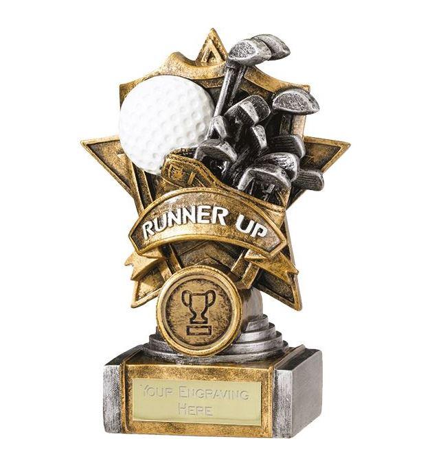 "Gold Resin Golf Runner Up Shield Star Trophy 15cm (6"")"