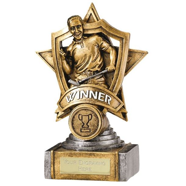 "Gold Resin Golf Winner Shield Star Trophy 18cm (7"")"