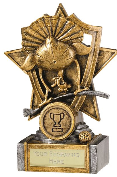 "Gold Resin Golf Turkey Shield Star Trophy 15cm (6"")"