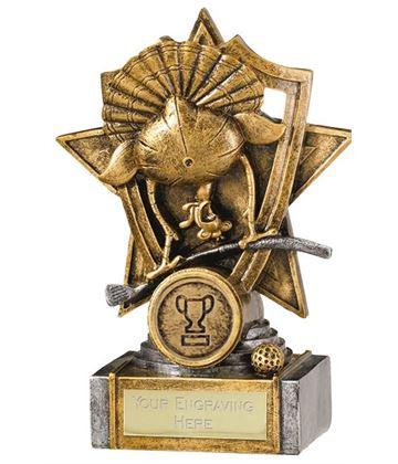"""Gold Resin Golf Turkey Shield Star Trophy 15cm (6"""")"""