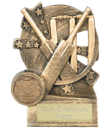 "Cricket Bat Trophy Gold Resin with Centre Disc 11cm (4.25"")"