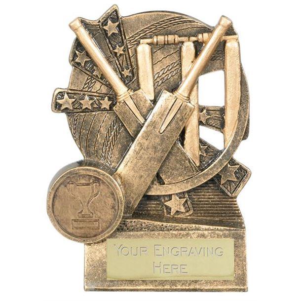 "Cricket Bat Trophy Gold Resin with Centre Disc 10cm (4"")"