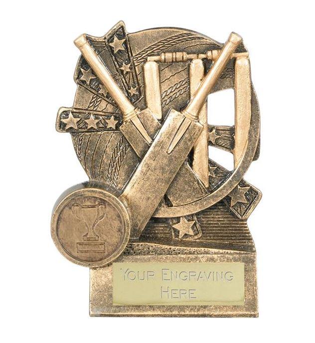 "Cricket Bat Trophy Gold Resin with Centre Disc 11cm (4.25"")"
