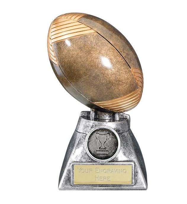 """Apex 3D Rugby Ball Trophy 15cm (6"""")"""