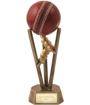 "Antique Gold Resin Cricket Ball Holder 16.5cm (6.5"")"