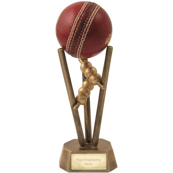 "Antique Gold Resin Cricket Ball Holder 16.5cm (6.5"")"